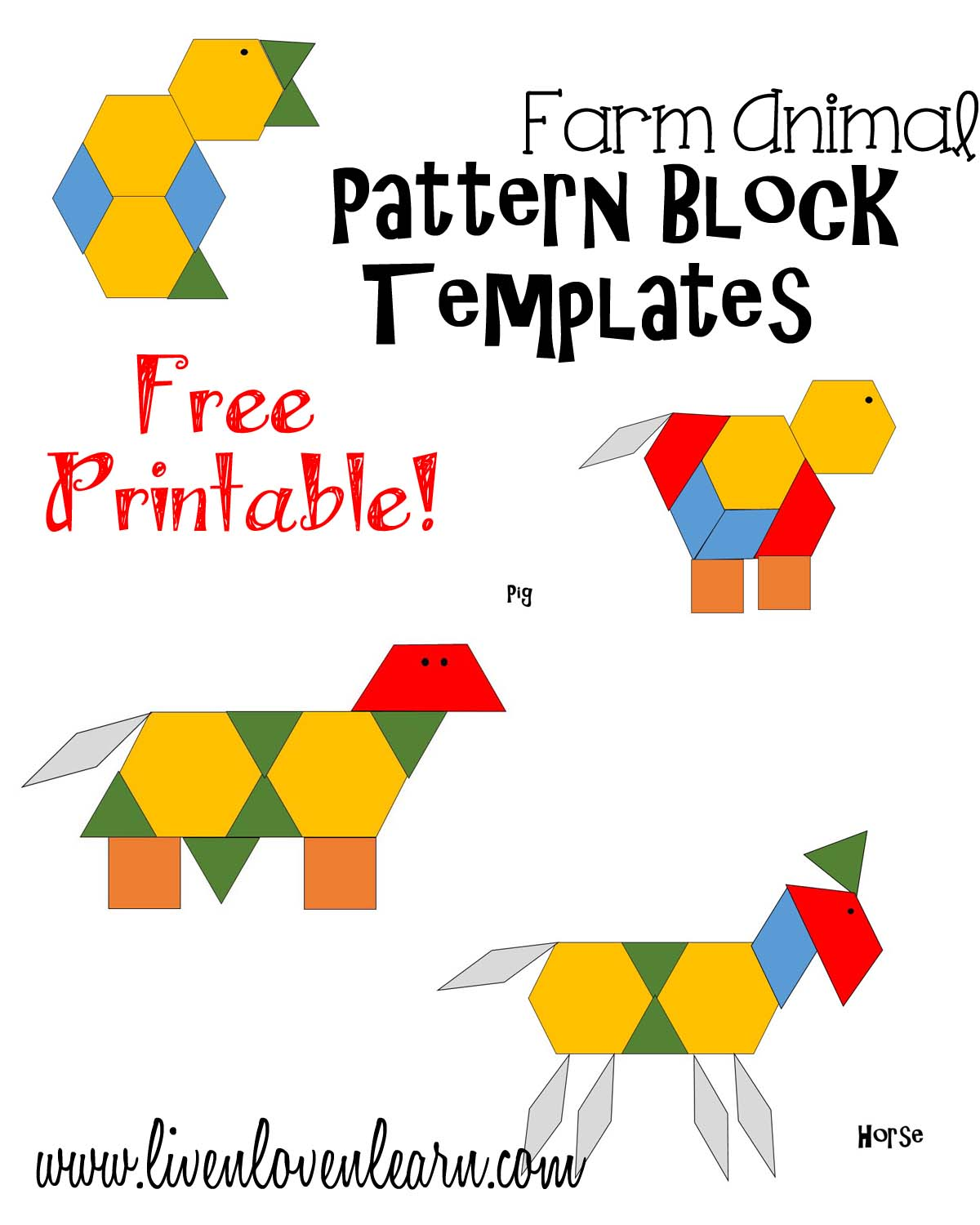 graphic about Printable Pattern Block Templates named practice blocks